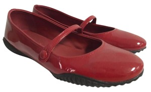 Prada Ballerina Round Toe Patent Leather Rubber Red Flats