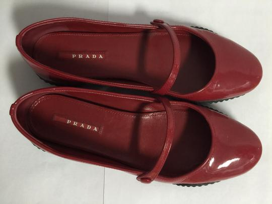 Prada Round Toe Patent Leather Rubber Red Flats Image 1