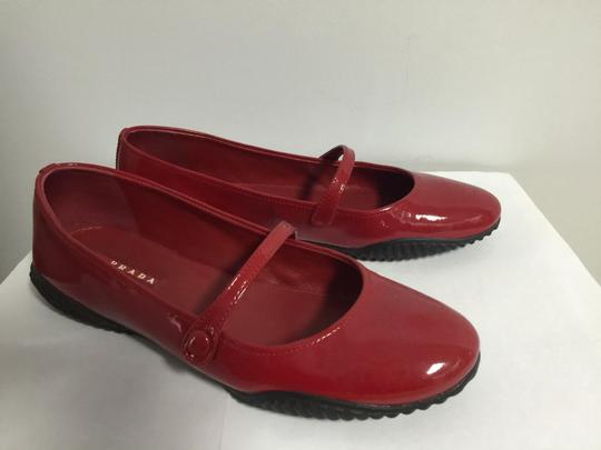 Prada Round Toe Patent Leather Rubber Red Flats Image 3
