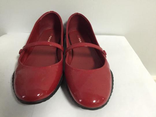 Prada Round Toe Patent Leather Rubber Red Flats Image 4