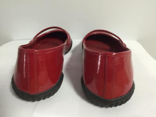 Prada Round Toe Patent Leather Rubber Red Flats Image 5