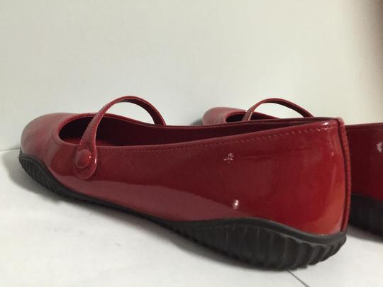 Prada Round Toe Patent Leather Rubber Red Flats Image 6