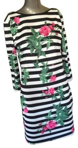 Roosha Style short dress Floral Black and White Striped on Tradesy