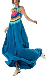 Blue, Pink, Orange, Yellow Maxi Dress by Mara Hoffman Embroidered Maxi Bohemian Festival Linen
