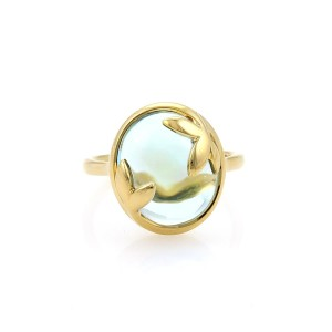 Tiffany & Co. Picasso Olive Leaf 4ct Blue Topaz 18k Yellow Gold Ring Size 6.25