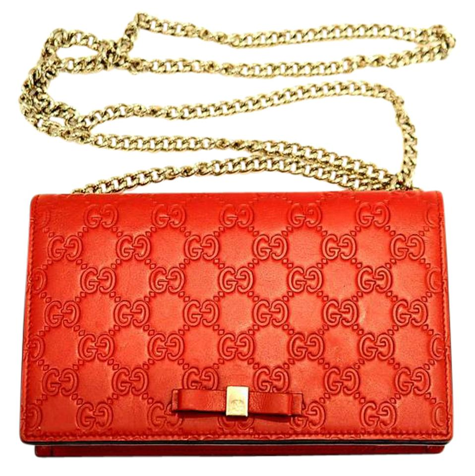 04e280fd6993 Gucci Wallet on Chain Bowy Red Guccissima Leather Shoulder Bag - Tradesy