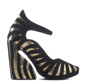 Jeffrey Campbell Platform Wedges Sculptured Heel Womens Black/gold Pumps