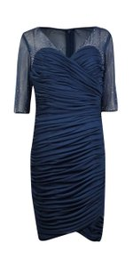 Alex Evenings Embellished Illusion Ruched Navy Blue 16 Dress