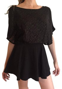 Free People Crop Zebra Lace T Shirt Metallic Black and Silver