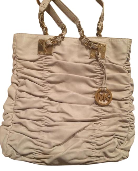 Michael Kors Webster Accent Purse White/Gold Leather Shoulder Bag Michael Kors Webster Accent Purse White/Gold Leather Shoulder Bag Image 1