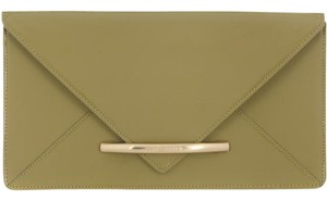 Zac Posen Green Patent Leather Olive Sage Green Clutch