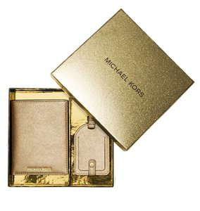 Michael Kors Michael Kors Pale Gold Leather Bifold Wallet Luggage Tag Boxed Set