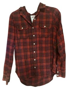 Mossimo Supply Co. Plaid Rustic Country Comfortable Flannel Button Down Shirt Red/Orange