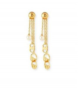 Tory Burch New Tory Burch Multi Chain Logo Drop Earrings Gold