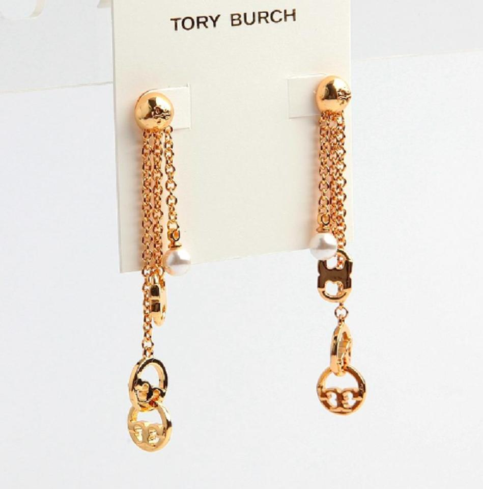 Tory Burch Gold New Multi Chain Logo Drop Earrings - Tradesy