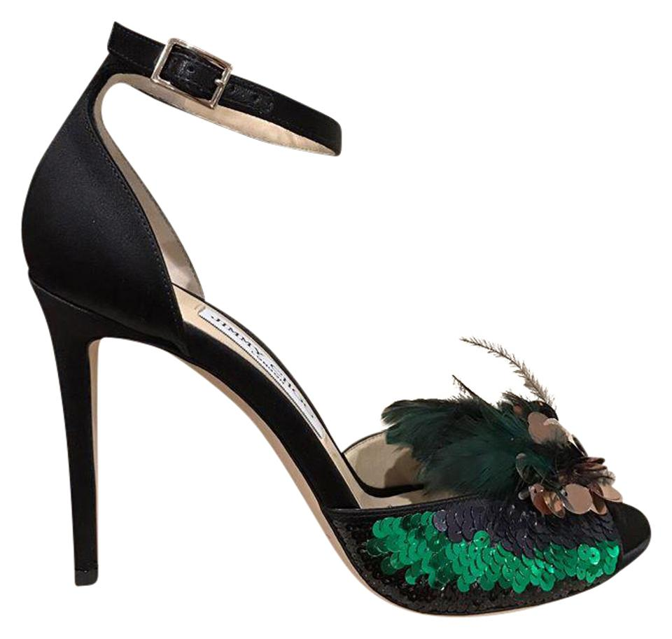 56f02ad143e Jimmy Choo Black Annie 100 Feather Sequin Ankle Strap Heel 38.5 Pumps Size  US 8.5 Regular (M, B) 62% off retail