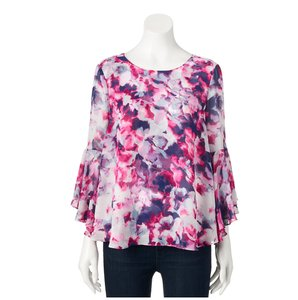 Jennifer Lopez Bell Sleeves Jlo Floral Chiffon Plus-size Top Purple and Pink