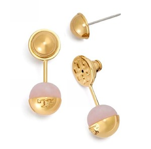 Tory Burch Tory Burch Pearl Logo Bead Ear Jacket Pink Rose Quartz Earrings