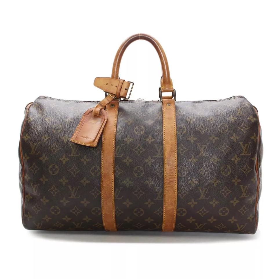 Louis Vuitton Keepall 45 Monogram Canvas Luggage Boston Brown Leather  Weekend Travel Bag d61608ee7ff9e