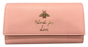 Gucci Gucci Blind For Love Rose Gold Bee Continental Button Clutch Wallet
