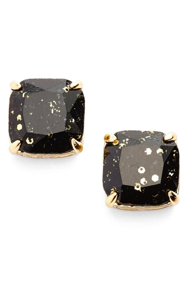 Kate Spade New York Jet Black Square Studs With Gold Specks