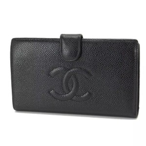 Chanel caviar leather CC metalasse long bifold snap wallet