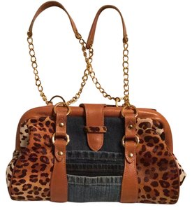 Clever Carriage Company Satchel in tan with leopard colored spots