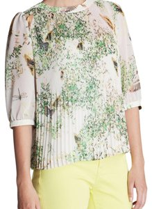 Ted Baker Dancing Leaves Pleated Top white, green, yellow