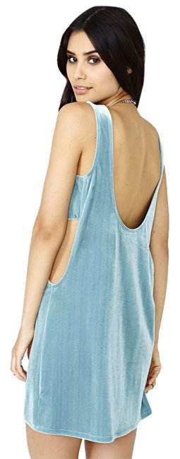 Item - Aqua Blue Velvet Panel Open Back Mini Night Out Dress Size 2 (XS)