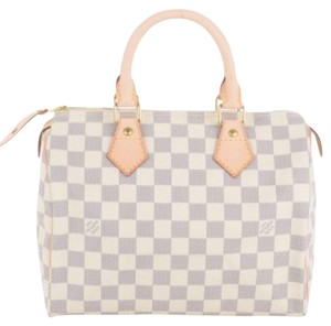 Louis Vuitton Speedy 25 Leather Monogram Satchel in Damier Azur