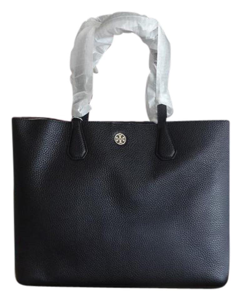 7d3e99aefc6 Tory Burch Perry Bark Gold Perry Tote in black/beige Image 0 ...