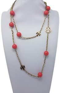Tory Burch Gold-tone Tory Burch Reva logo beaded station necklace