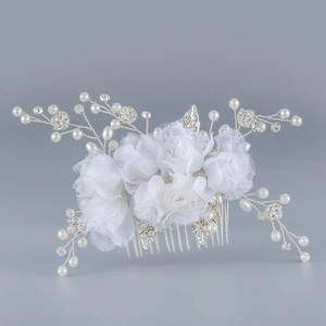 Bridal Hair Comb Jewelry Fabric Rose Flower Vintage White Crystal Pearl Bling Rhinestone