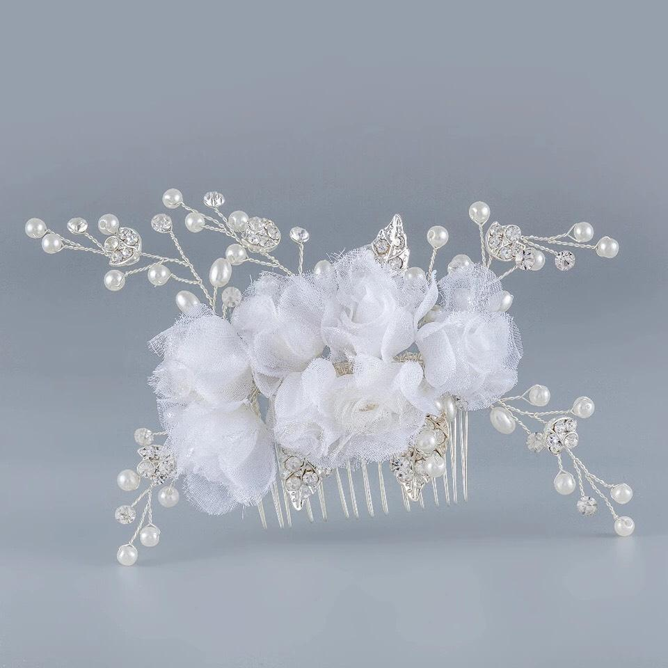 Comb Fabric Rose Flower Vintage White Crystal Pearl Bling Rhinestone
