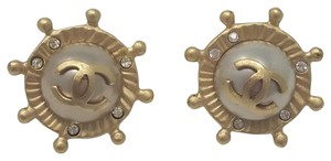 Chanel Gold-tone Chanel CC logo ship wheel stud earrings