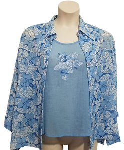 Alfred Dunner Top Blue Floral
