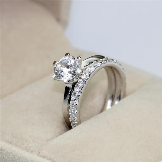 New All Sizes 4 5 6 7 8 9 10 Sona Diamond Engagement Eternity Band Set 2 Ct Solitaire Ring Image 3