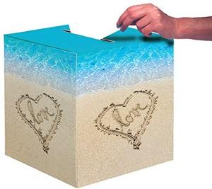 Beach Love Wedding Card Box Heart Sandy Beach Wedding Reception Gift