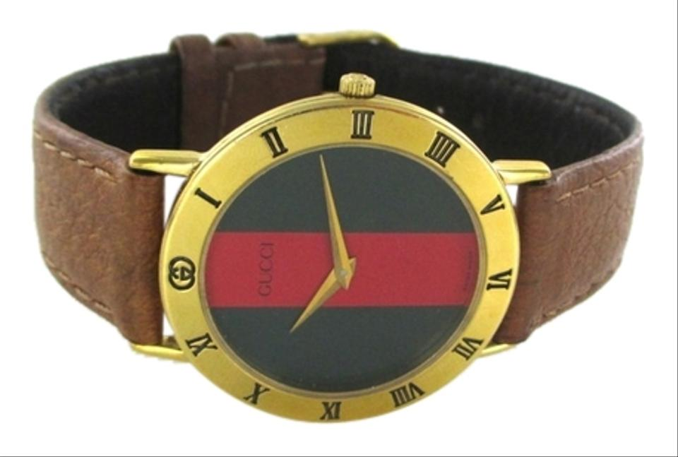 bc16c01f542 Gucci GUCCI WATCH RED GREEN 3000.2.M VINTAGE 18K GOLD PLATED ROMAN NUMERAL  BEZEL Image ...