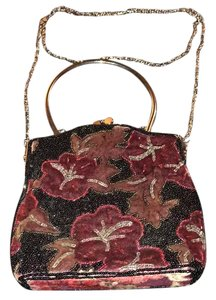 Other black with red flowers Clutch