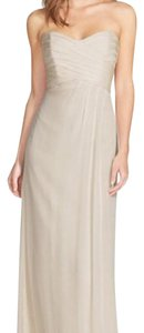 Amsale Light Grey Amsale Silk Chiffon Strapless Bridesmaid Gown Size12 Dress