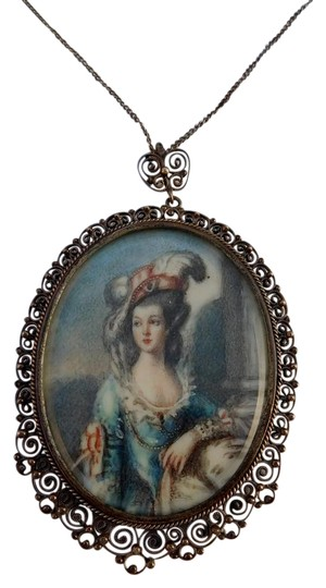 Preload https://img-static.tradesy.com/item/21156895/silver-antique-italian-lace-filigree-cannetille-hand-painted-miniature-necklace-0-1-540-540.jpg