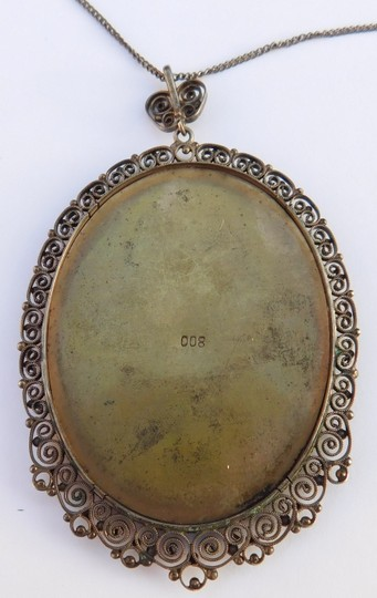 Antique Antique Italian Silver Lace Filigree Cannetille Hand Painted Miniature Image 3