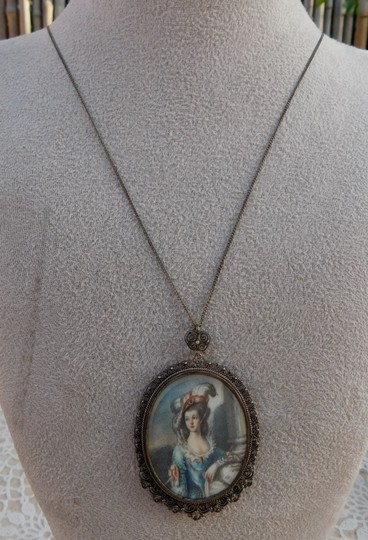 Antique Antique Italian Silver Lace Filigree Cannetille Hand Painted Miniature Image 4