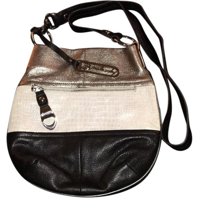 Item - A213261 Black Silver and White Leather Hobo Bag
