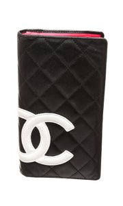 Chanel Chanel Black Quilted Leather White CC Cambon Long Wallet