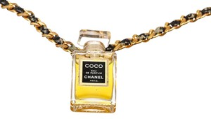Chanel Chanel Black Leather Gold Woven Chain Perfume Bottle Pendant Necklace