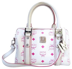 MCM Visetos Canvas Satchel in white