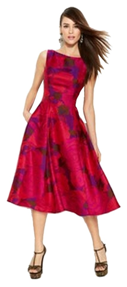 2b6ed09a75f Adrianna Papell Fuchsia Floral Jacquard Knee Length Cocktail Dress ...