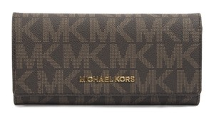 Michael Kors Michael Kors Brown Signature Monogram Jet Set Large Carryall Wallet